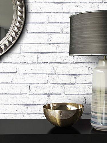 Steintapete Weiß Natur Stein   schöne edle Tapete im Steinmauer Design   moderne 3D Optik für Wohnzimmer, Schlafzimmer oder Küche inkl. Newroom Tapezier Profibroschüre mit super Tipps!