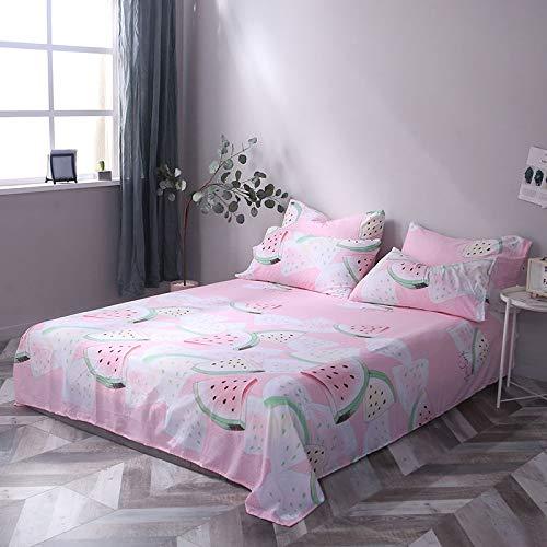 Lenzuolo di cotone lavato di colore puro cuore ragazza giapponese, lenzuolo + federa, articoli per la casa lenzuolo di cocomero rosso rete 230 * 240 cm