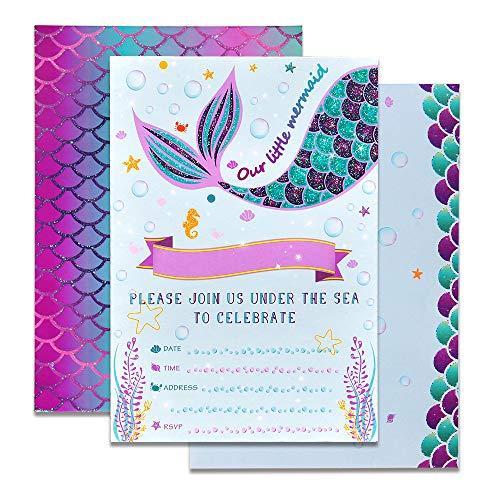 WERNNSAI Invitaciones de la Sirena - 20 Set Mágico Resplandecer Llenar Invitaciones De Sirena con Sobres para Niños Chicas Birthday Baby Shower Boda Suministros Temáticos de Sirena para Fiestas
