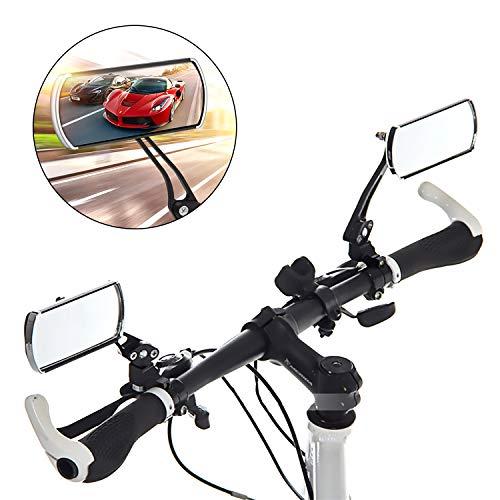 2 Stück Fahrrad Rückspiegel Lenkerspiegel, Waflyer 360° Drehspiegel Fahrradspiegel Links und Rechts Klappbar Verstellbarer Fahrrad Spiegel für E-Bike/Mountainbike/Motorrad/Rennräder/Kinderwagen,Black