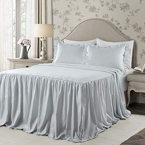 Queen 3pc Ticking Stripe Bedspread Set Lake Blue - Lush Décor