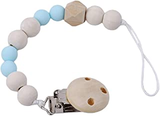 eroute66 Lovely Wooden Beads Chain Infant Baby Soother Toy Teether Pacifier Clip Holder - Blue