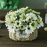 Cesta de flores de seda artificial arreglos florales de flores falsas mesas de centro de mesa de regalo para boda, hogar, cocina, jardín, sala de estar, hotel, oficina, fiesta, decoraciones florales
