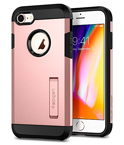 Spigen® Tough Armor Kompatibel mit 2 iPhone 8/7 Hülle, Extrem Fallschutz Doppelschutz Stoßfest Schutzhülle iPhone 8/ iPhone 7 Hülle Rose Gold