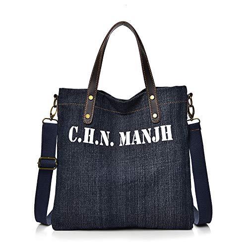 ZSBBshop Bolso Bolso Minimalista para Mujer, Bolso, Jeans, Bolso Informal, Bolso de Dama, Bolso artístico, Azul