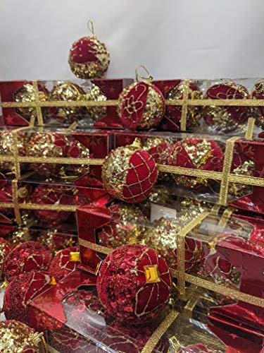 RB - Juego de 108 bolas de Navidad rojas y doradas