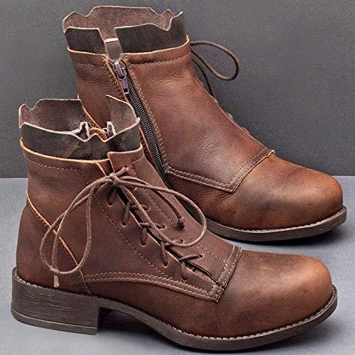 Botas Martin con Cordones para Mujer Botas De Senderismo Botas Vintage para Mujer,Marrón,42