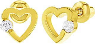18k Gold Plated Tiny Clear Crystal Heart Screw Back Earrings for Baby Girls