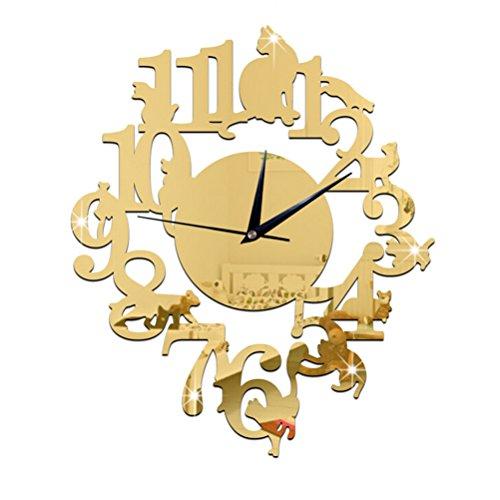 WINOMO Horloge Autocollant de Mural Miroir 3D Maison Décor Chat sur étagère Design (Jaune)