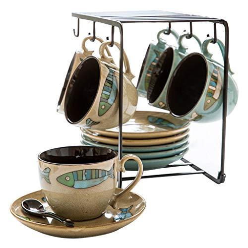 NYKK Taza de café Estilo nórdico Taza de café de cerámica Creativa Moda Salón Juego de té Taza de café Inglesa (Color : Two-Tone)