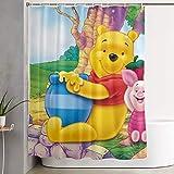 LIUYAN Duschvorhang mit Haken – Winnie Pooh Honey Wasserdichter Polyester-Stoff Badezimmer-Dekoration 152,4 x 182,9 cm