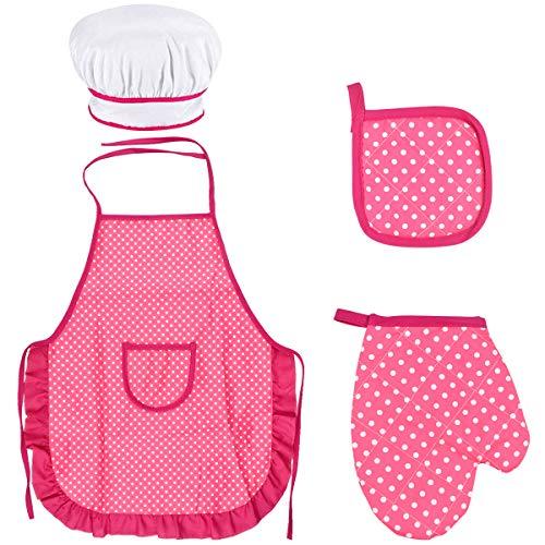 Fodlon Set Chef per Bambini, Regolabile Bambini Grembiule Cucina con Cappello Cuoco per Bambini, Guanto da Cucina per Bambini, Tappetino Resistente al alore per di 3-8 Anni (Rosa Rossa)
