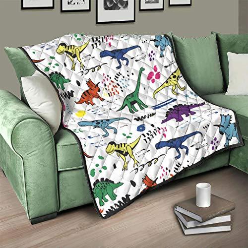 Flowerhome Cartoon Dinosaurier Tagesdecke Steppdecke Bettdecke Bettüberwurf Sofadecke Couchdecke Schlafdecke Wendedecke für Erwachsene Kinder White 100x150cm