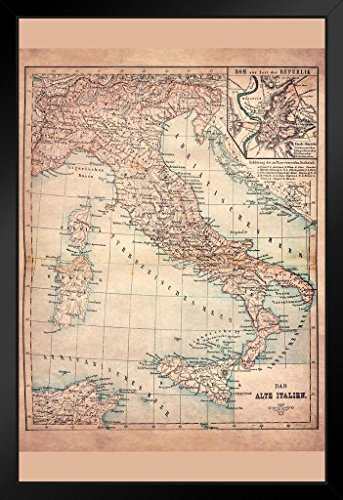 Old Italy 1883 Historical Antique Style Map Black Wood Framed Art Poster 14x20