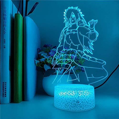 tian tian baby 3D Luz de Noche Lámpara de ilusión óptica Control Remoto Naruto Anime Figura 3D LED Ilusión Control de luz Nocturna Bebé Niños Cumpleaños Lámpara de Navidad