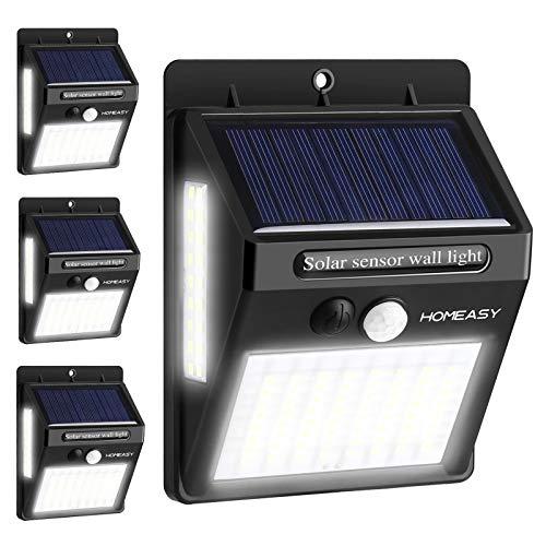 homeasy Solarlampen für Außen mit Bewegungsmelder 100LED Solarleuchten Garten 270 ° Weitwinkel LED Solar Wandleuchte Wasserdichte Außenwandleuchte für Wohnwagen Garten Balkon