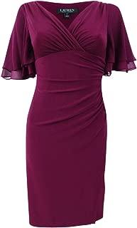 LAUREN RALPH LAUREN Womens Petites Mildia V-Neck Cocktail Wrap Dress
