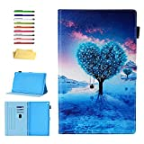 Kindle Fire HD 10 Case 9th and 7th Generation with Pencil Cards Holder, UUcovers Smart Folio Stand Synthetic Leather Cover [Auto Wake/Sleep] for Amazon Fire HD 10.1 Inch 2019/2017, Blue Heart Tree