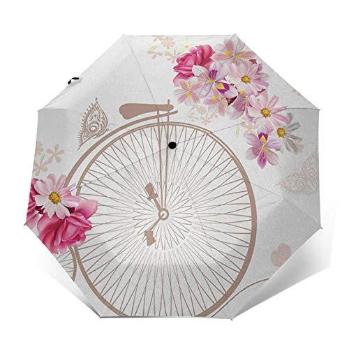 Paraguas Plegable Automático Impermeable Canasta Bicicleta Full Flower Daisy, Paraguas De Viaje Compacto a Prueba De Viento, Folding Umbrella, Dosel Reforzado, Mango Ergonómico