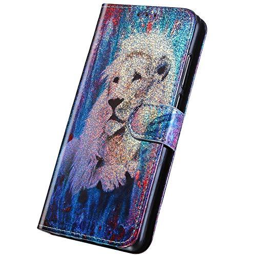Surakey PU Leder Hülle für iPhone 6/iPhone 6S Handyhülle Handytasche Laser Gemalt Muster Bling Glitzer PU Tasche Schutzhülle Flip Case Brieftasche Etui Wallet Case Ständer Kartenfächer,Löwe