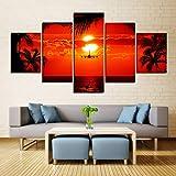 Rudxa Lienzo Arte de la Pared Sunset Seascape Poster Set Imagen del Paisaje para la Sala Decoración para el hogar Pintura - 5 Piezas/Set sin Marco