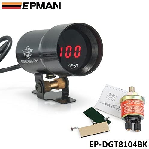 EPMAN Gifts 37mm Micro Kansas City Mall Digital Smoked Universal 4-6 Pressure Gauge Oil
