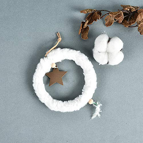 Dsqcai Christmas Decorations Wall Hanging Plush Circle Five-Pointed Star Pendant Creative Living Room Decoration,White
