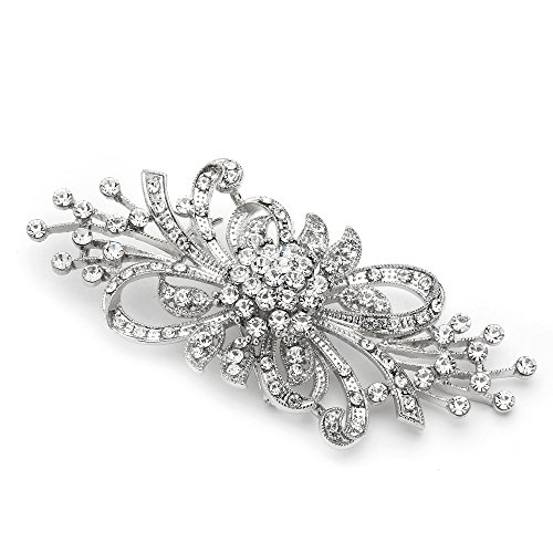 Mariell Vintage Design Bridal Crystal Brooch Pin - Antique Silver Rhinestone Fashion Accessory