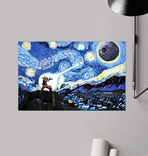 "HolyShirts Goku vs Death Star The Starry Night Poster (32"" x 48"")"
