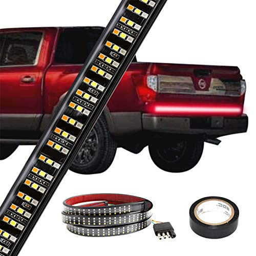 Tailgate Light Bar- 60Inch Triple LED Tailgate Strip Light for Running Light Brake Light Turn Signal Light Reverse Light with 4-Pin Flat Connector, Weatherproof No Drill Install (Gift Electrical Tape)