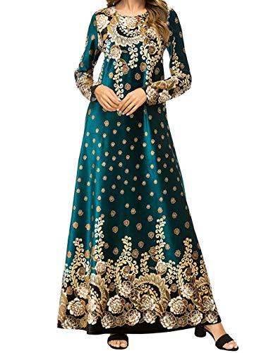 Qianliniuinc Vestiti Taglie Forti Maxi Dress-Lunga Abiti Femminili Abaya Islamico Kaftano Donna Caldo Arabo Costume Verde M