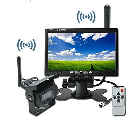 BW videocamera Wireless CCD con visione notturna, per retromarcia e visione posteriore, per auto, camion, camper, schermo da 17,78 cm (7') LCD, 12-24 V