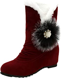 UOKNICE Women Suede Hairball Round Toe Wedges Shoes Keep Warm Slip-On Snow Boots