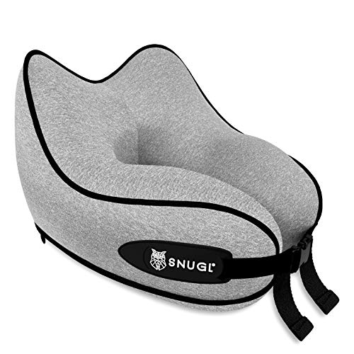 SNUGL Travel Pillow - Premium Ergonomic Design Memory Foam Cushion - Head, Neck & Chin Support for Airplane, Train or Car - Carry Bag with Carabiner Clip Included (Graphite Grey) Small