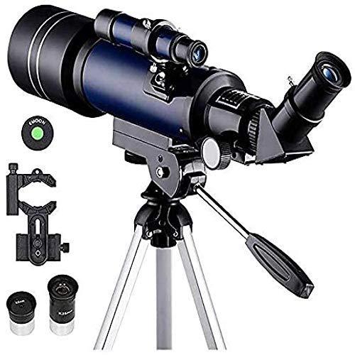 QEDS Teleskop70Mm Refraktor Teleskop, Anfängersteleskop für Kinder Erwachsene Astronomie Adapter Einstellbares Stativ Refraktor Teleskop -Für Anfänger und Kinder