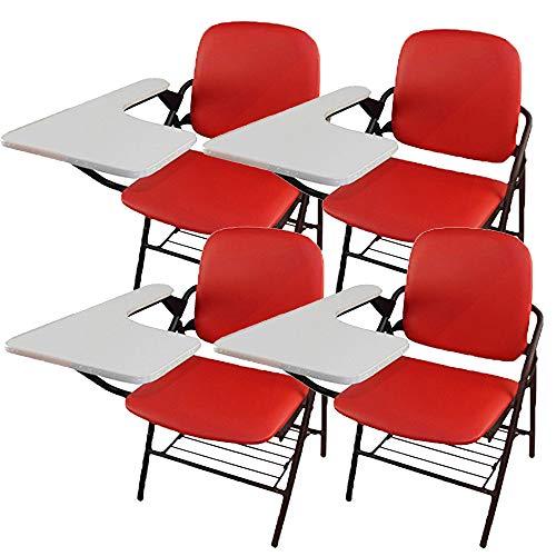 折り畳み式 テーブル 付き イス クッション 付き メモ台付き 会議 収納 チェアブル2 パイプ椅子 パイプイス ミーティングチェア 椅子 一体型 チェア 柔らかい CHBLE02 (レッドx4脚)