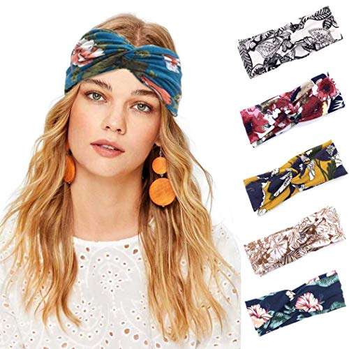 Sethexy Breit Boho Stirnband Elastisch Verknotet Blumendruck Kopfwickel 5St Yoga Haarband Sport Kopftuch Stirnband für Frauen und Mädchen