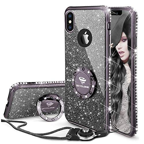 OCYCLONE iPhone XS Max Hülle, [1 Hülle +1 Trageband] Glitzer Diamant Handyhülle mit 360 Grad Ring Ständer Weiche TPU Bumper Case Mädchen Frauen Schutzhülle für iPhone XS Max 6,5 Zoll - Schwarz