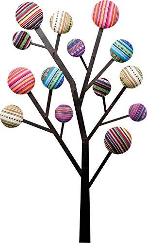 Kare Design Wandgarderobe Bubble Tree, Garderobenleiste in Baum Design, 6 Garderobenhaken verziert mit bunten, knopfähnlichen Kreisen, Kleiderhaken, Bunt (H/B/T) 111x65x6,5cm