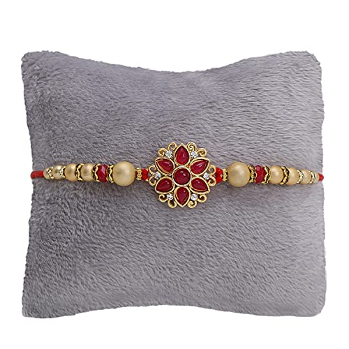 Riddhika Ventures Alluring Gold Plated Red Floral and Pearl Rakhi with Roli Chawal and Greeting Card (K11)
