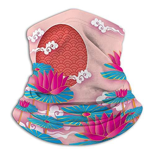N/A Tube Maschera per Sciarpa Maschera Sciarpa Collo Protezione UV per Esterni Copertura per Feste Origami ninfea Fiore di Loto Happy Chines Maschera Sciarpa in Pile