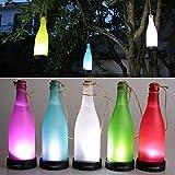 AngelaKerry LED Solar Powered Bottle Light Hanging Patio Lamp Flame Effect Garden Yard Hanging Lamp - White