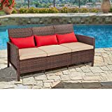 SUNCROWN Outdoor Furniture Patio Sofa Couch, 3 Seats Wicker Chair with Thick Cushions, Garden, Backyard, Porch or Pool