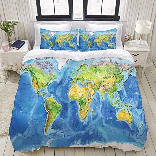 Juego de Funda nórdica, Mapa geográfico en Acuarela, Europa física Mundial, Colorido Juego de Cama Decorativo de 3 Piezas con 2 Fundas de Almohada