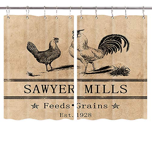 Rooster Kitchen Curtains, Farmhouse Miller Farm Aniaml Chicken Window Curtain Panel, Country Farmhouse Style Curtains for Living Room Bedroom, Farmhouse Window Treatment Sets with Hooks, 55X39 in