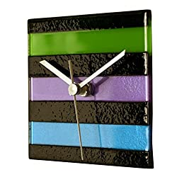 River City Clocks Square Multi-Color Glass Wall Clock-Cool Colors