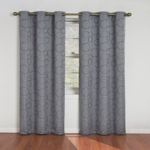 Eclipse Blackout Curtains for Bedroom - Meridian 42' x 84' Insulated Darkening Single Panel Grommet Top Window Treatment Living Room, River Blue