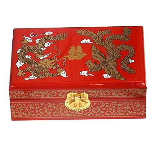 Alien Storehouse Chinesischen Stil aus Holz Schmuckschatulle mit Schloss Drachen & Phoenix