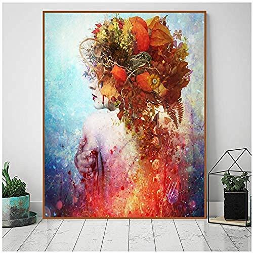 Canvas print,Nieuwe Rode Bloem Meisje Schedel Abstract Canvaskunst Schilderij Poster Muur Foto Woonkamer Thuis Decoratie Decor-60x70 cm