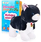 Black Plush Robot Cat Stuffed Animal Interactive Cat Robot Toy, Barking Meow Kitten Touch Control, Electronic Cat Pet, Cat Kitty Toy, Animated Toy Cats for Girls Baby Kids L:12' H:8' W:5'